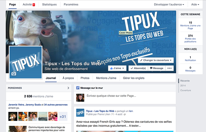 Tipux : Page Fan Facebook