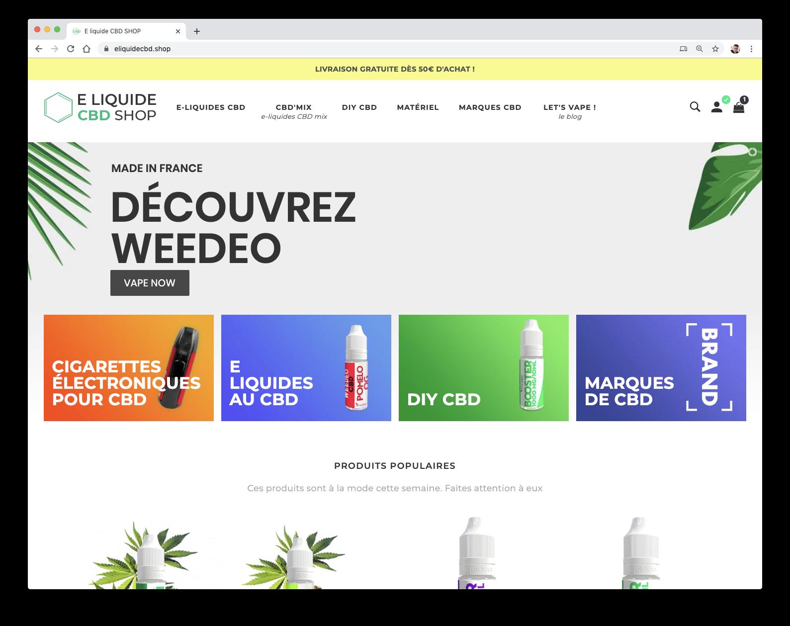 Page d'accueil d'e liquide CBD Shop